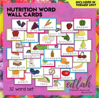 Nutrition/Food Vocabulary Word Wall Cards (set of 32) - Full Color -Version#1