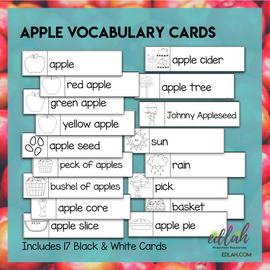 Apples Vocabulary Word Wall Cards (set of 17) - Black & White - Version #2