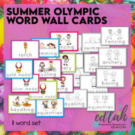 SUMMER Olympic Vocabulary Word Wall Cards (set of 11)-Bundled-Version#1