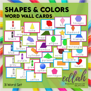 Shape and Color Vocabulary Word Wall Cards (set of 31) - Full Color-Version #1