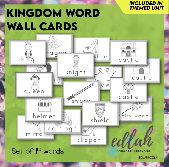 Fairy Tale Vocabulary Word Wall Cards (set of 14 Words)-Black & White-Version#1