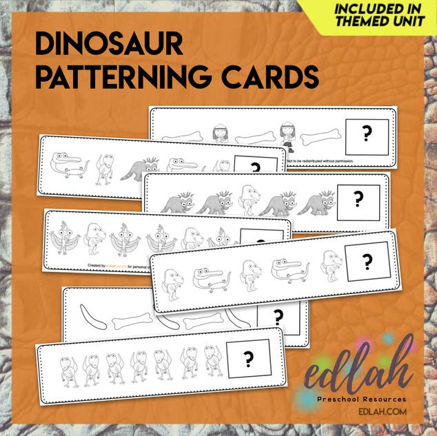 Dinosaur Patterning Cards - Black & White Version