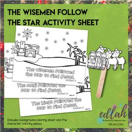 Wisemen Follow the Star Popsicle Stick Activity Sheet (wisemen, magi, or kings)