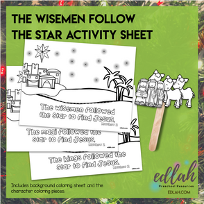 Wisemen Follow the Star Popsicle Stick Activity Sheet (wisemen, magi, or kings)