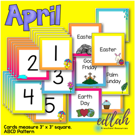 April Calendar Pieces - Rainy Day Themed - ABCD Pattern