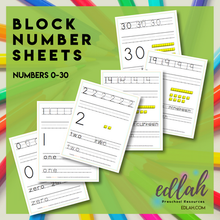 BLOCK Number Practice Sheets (0-30) - Full Color Version