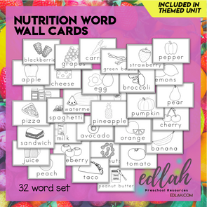 Nutrition/Food Vocabulary Word Wall Cards (set of 32) - Black & White-Version#1