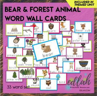 Bear and Forest Vocabulary Word Wall Cards (set of 33) - Full Color -Version#1