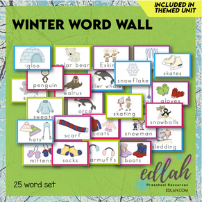 Winter Vocabulary Word Wall Cards (set of 25) - Full Color -Version#1