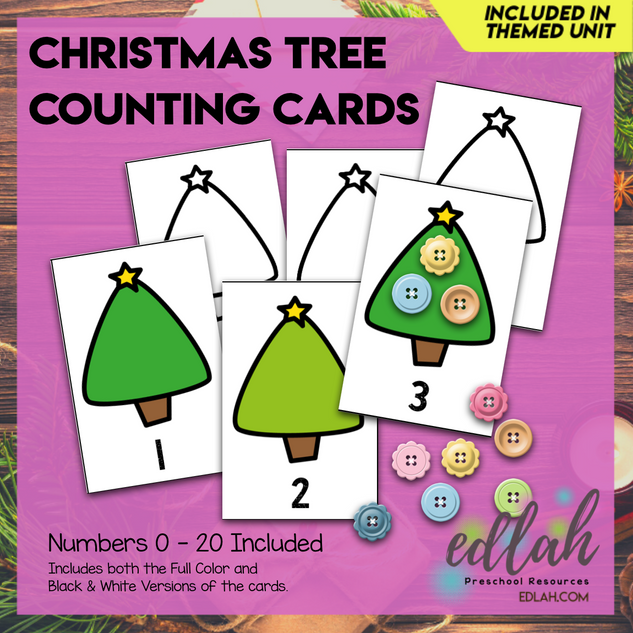 Christmas Tree Counting Cards (0-20)