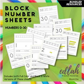 BLOCK Number Practice Sheets (0-30) - BUNDLED