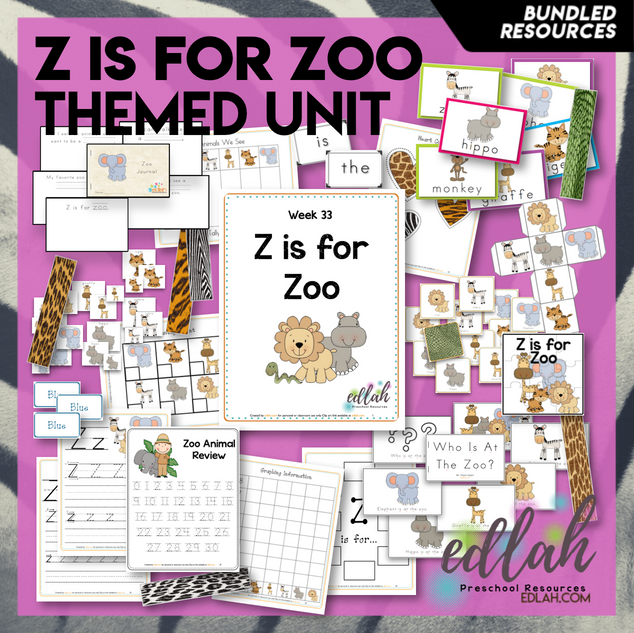 Z is for Zoo Themed Unit-Preschool Lesson Plans - Distance Learning