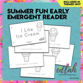 Summer Fun/Ice Cream Early Emergent Reader - Black & White Version