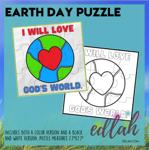 "Earth Day Printable Puzzle - ""I will love God's world."""