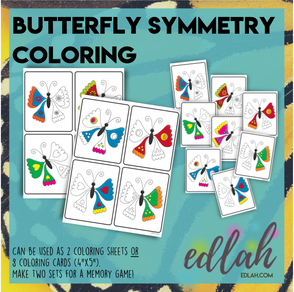 Butterfly Symmetry Coloring - Activity Sheets or Cards