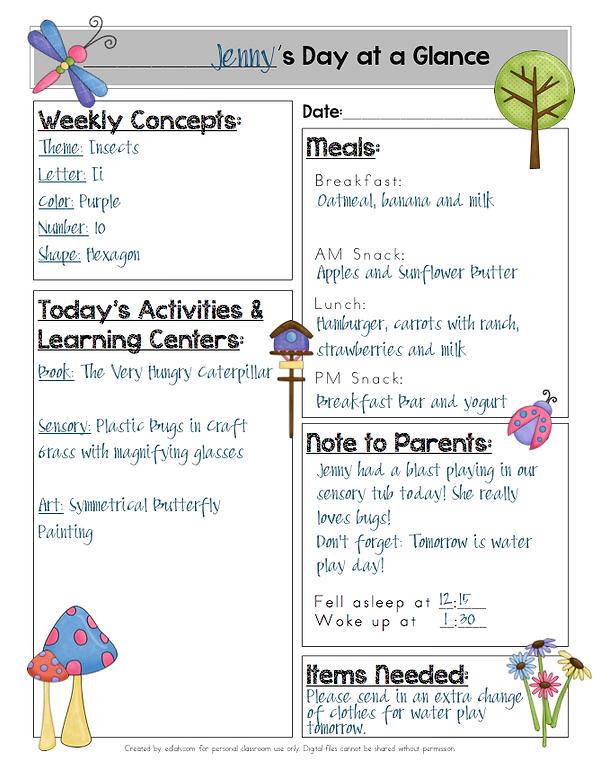 Daily Logs for Preschool Parent Communication