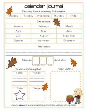 Leaves Calendar/Circle Time Journal Sheet