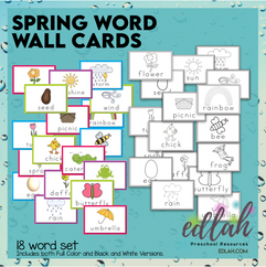 Spring Vocabulary Word Wall Cards (set of 18)- BUNDLE - Version#1