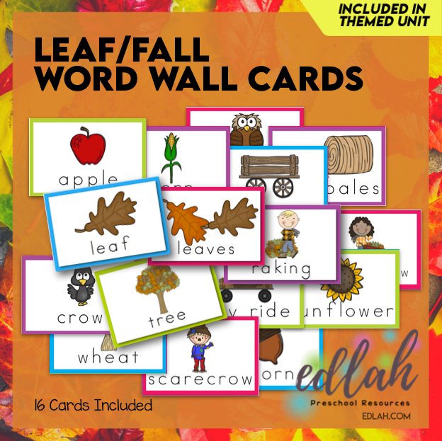 Leaves Vocabulary Word Wall Cards (set of 16) - Full Color - Version#1