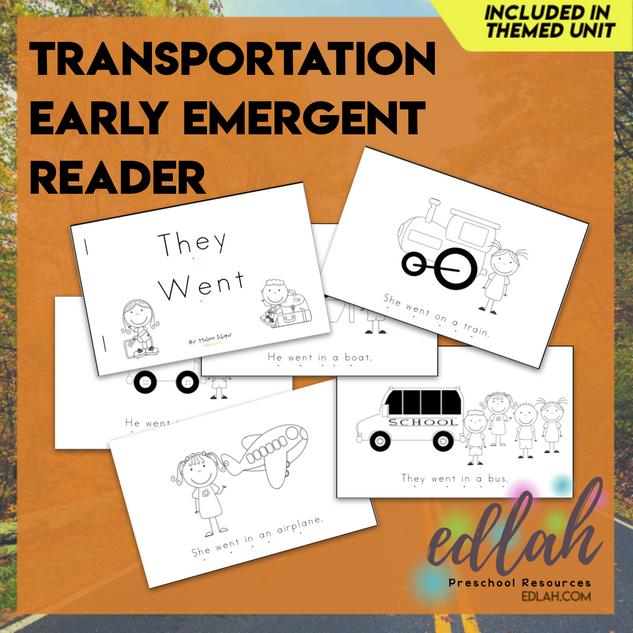 Transportation Early Emergent Reader - Black & White Version