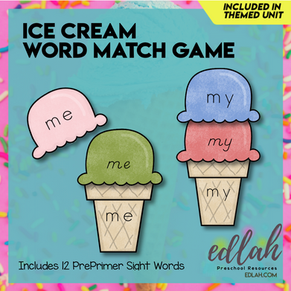 Ice Cream Word Match Game - Summer Fun - Full Color Version
