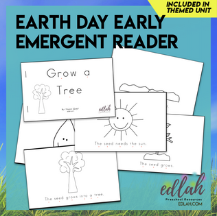 Earth Day Early Emergent Reader - Black & White Version