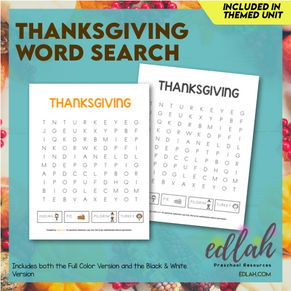 Thanksgiving Word Search Puzzle