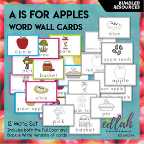 Apples Vocabulary Word Wall Cards (set of 12) - BUNDLE-Version#1
