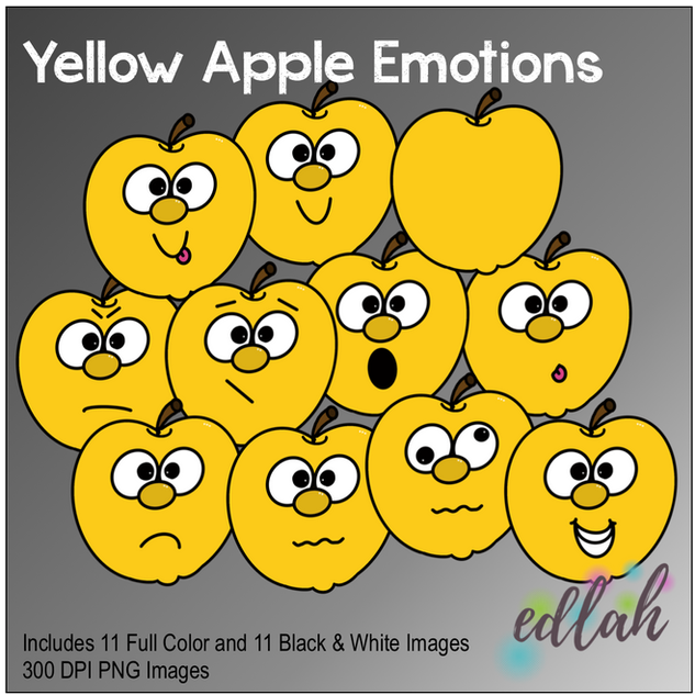 Yellow Apple Emotions Face Clip Art