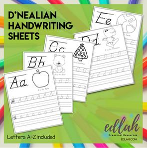 D'NEALIAN Lettering Practice A-Z - Black & White Version