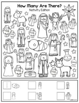 "Christmas Nativity ""How Many Are There"" Activity Sheet"