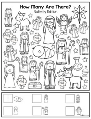 "Christmas Nativity ""How Many Are There"" Activity Sheet"