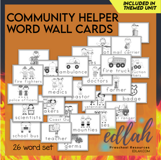 Helping Our Community Vocabulary Word Wall Cards (set of 26)-Black & White -Vs#1