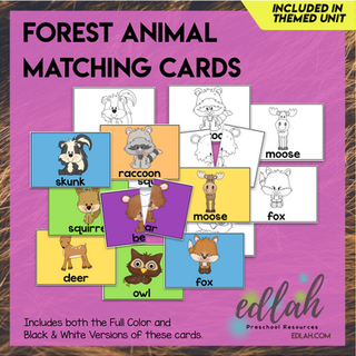 Forest Animal Matching Game for a Pocket Charts