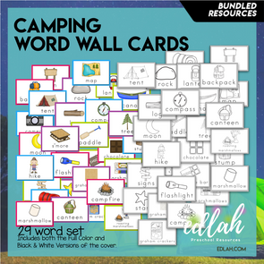 Camping Vocabulary Word Wall Cards (set of 29) Bundle-Version#1