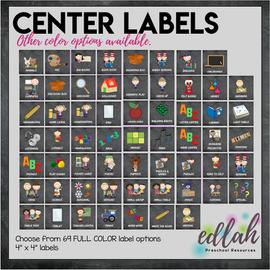 Center Labels- Chalkboard