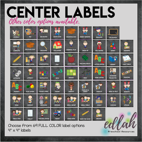 Center Labels- Chalkboard