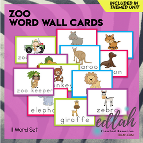 Zoo Vocabulary Word Wall Cards (set of 11) - Full Color -Version#1