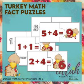 Turkey Math Fact Puzzles