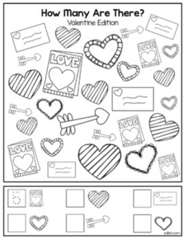 "Valentines Day ""How Many Are There"" Activity Sheet"