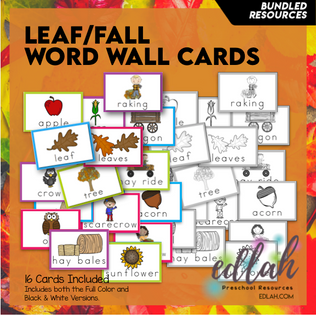 Leaves Vocabulary Word Wall Cards (set of 16) - BUNDLE-Version#1