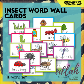 Insect Vocabulary Word Wall Cards (set of 16) - Full Color -Version#1