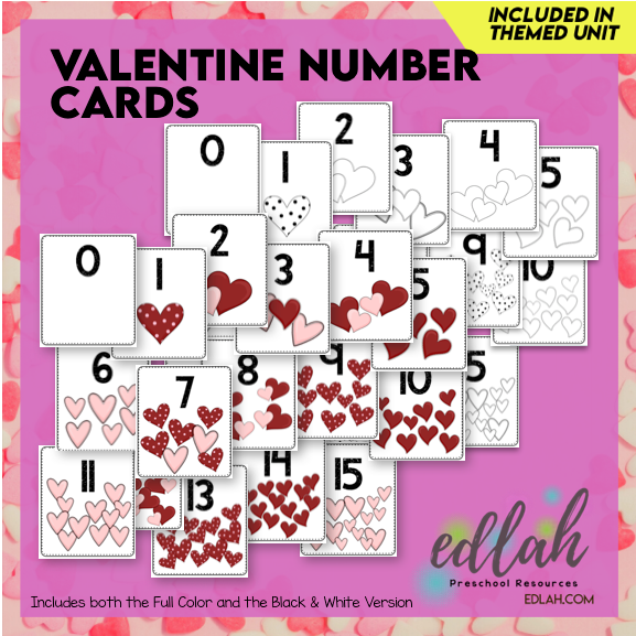 Valentine Number Cards - Full Color Version and Black & White Version