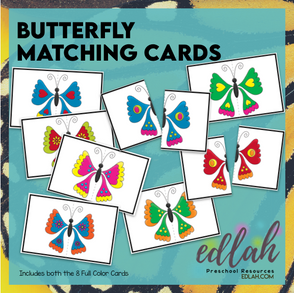 Butterfly Matching Game (Insect) - Full Color Version - Distance Learning