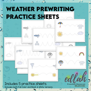 Weather Prewriting Practice Sheets