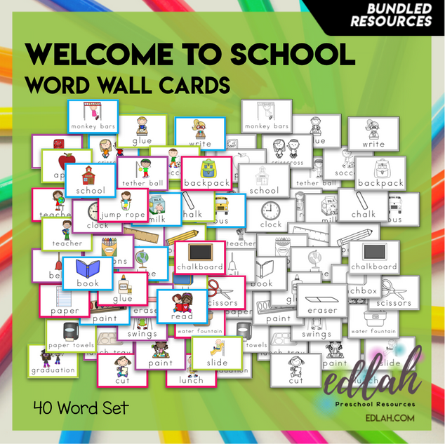 School Vocabulary Word Wall Cards (set of 40) - BUNDLE -Version#1