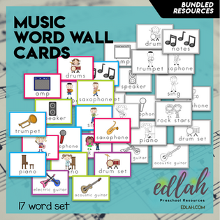 Music Vocabulary Word Wall Cards (set of 17) - BUNDLE-Version#1