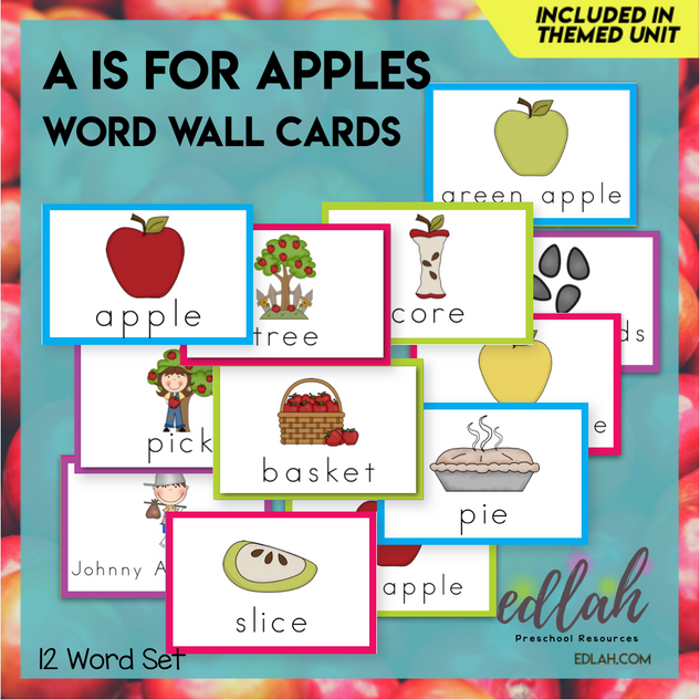 Apples Vocabulary Word Wall Cards (set of 12) - Full Color-Version#1