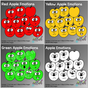 Apple Emotion BUNDLE - Includes Red, Yellow, Green, and Line Art Apple Emotions
