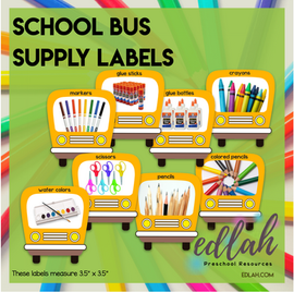School Bus School Supply Labels